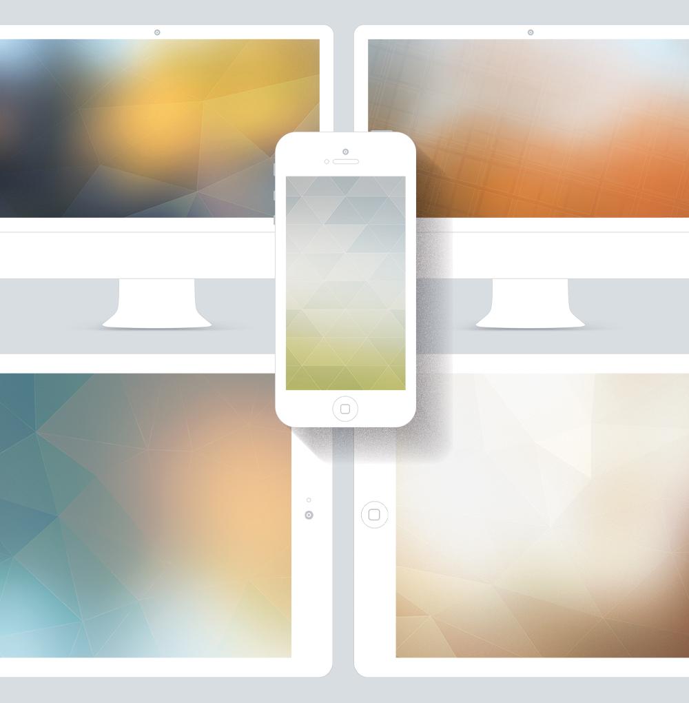 Fonds d'écrans iPad et iPhone retina flous, abstraits avec mosaique