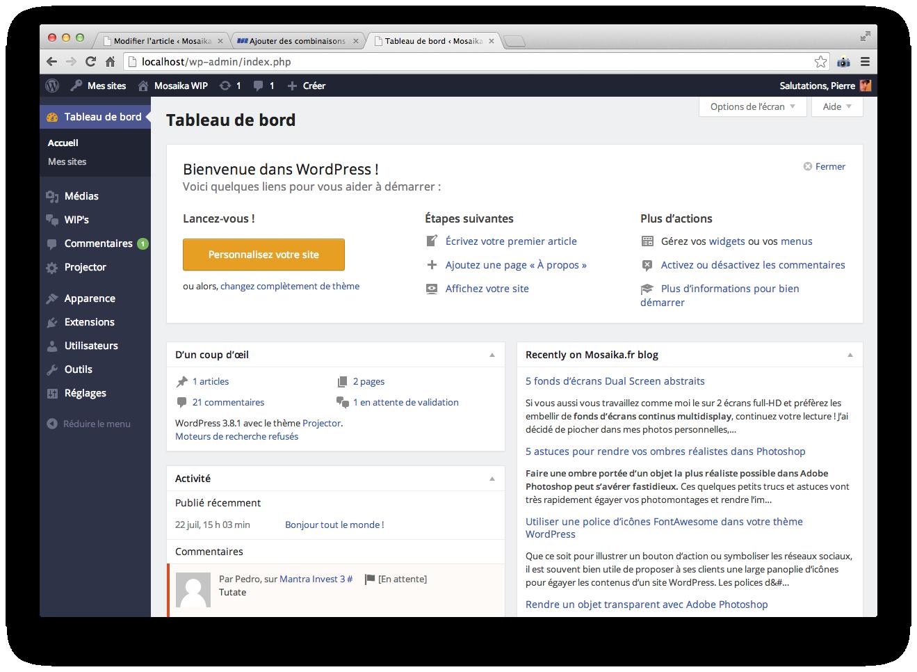 Un nouveau style CSS d'admin WordPress fait en 5 minutes