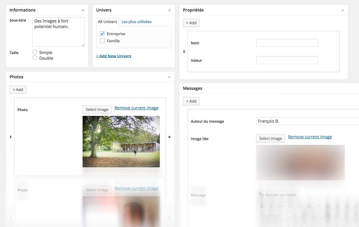 Développement sur-mesure d'un thème WordPress portfolio de photographie