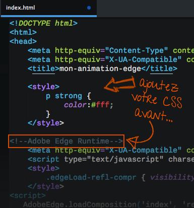 Ajouter des styles CSS personnalisé dans vos animations Edge Animate