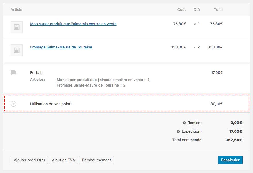 Affichage de la réduction (frais négatif) dans le back-office de la commande WooCommerce