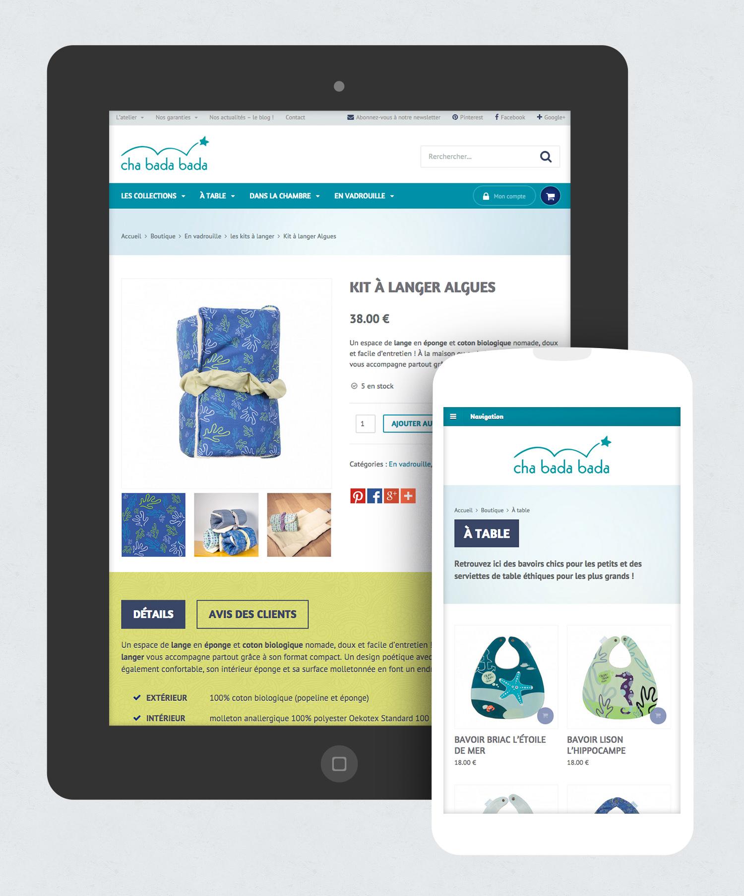 Design d'un thème WordPress WooCommerce responsive pour le site e-commerce Cha bada bada