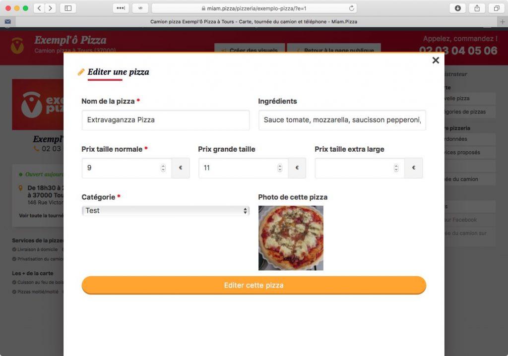 Edition d'une pizza côté pro