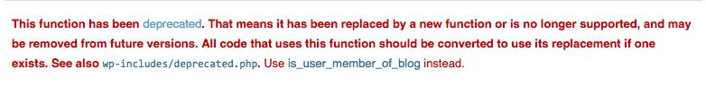 Alerte d'une fonction WordPress obsolète