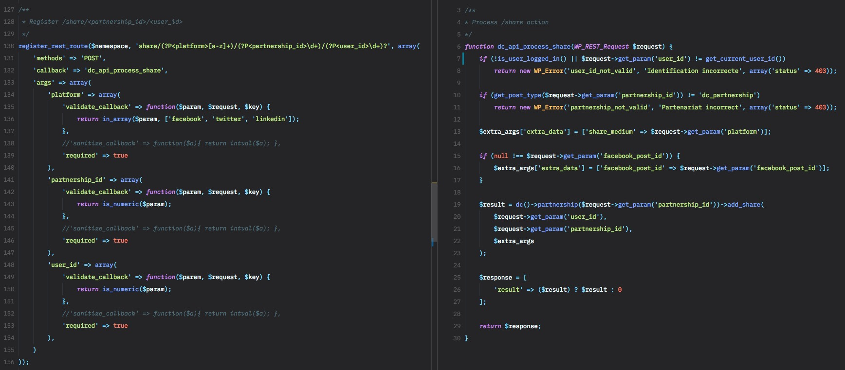 Exemple d'enregistrement d'une nouvelle route (à gauche) dans l'API Rest WordPress et son traitement (à droite)