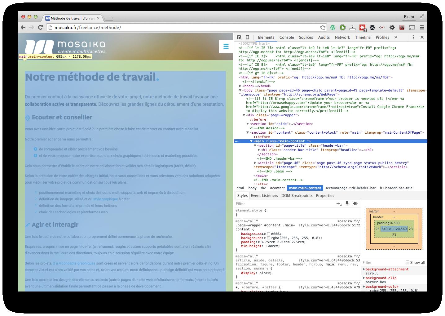 Les coulisses d'une page web avec l'inspecteur de Google Chrome