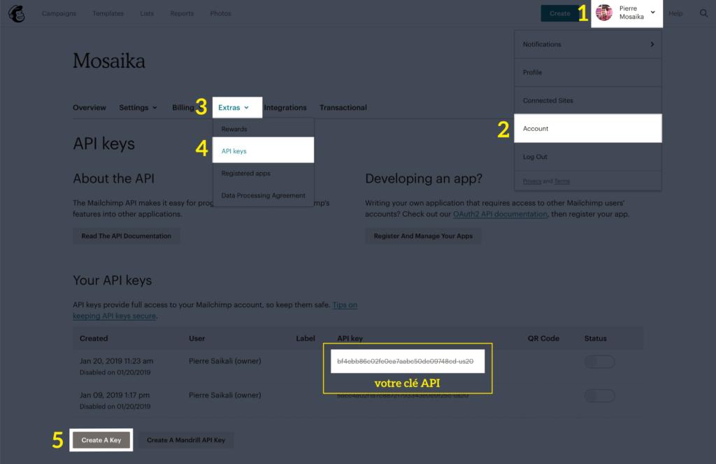 Où créer une clé d'API MailChimp ?