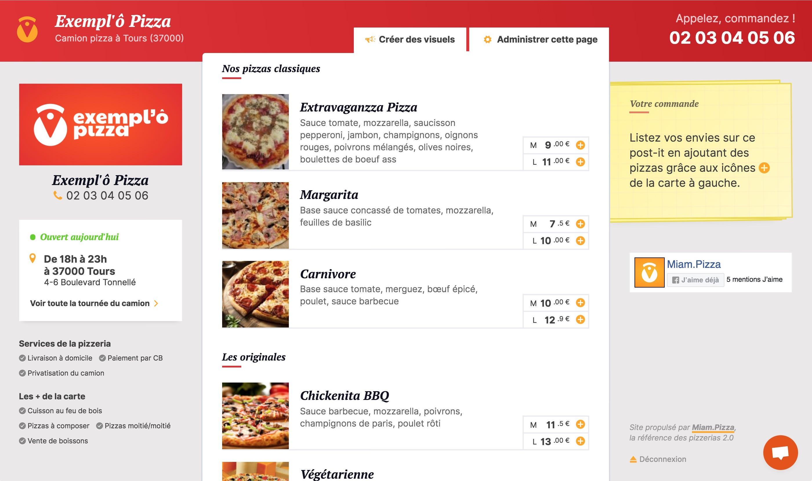 Un menu online pour les restaurateurs pizzerias