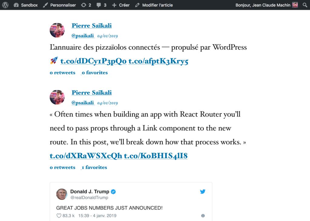 Afficher les derniers tweets d'un compte Twitter sur un site WordPress 4
