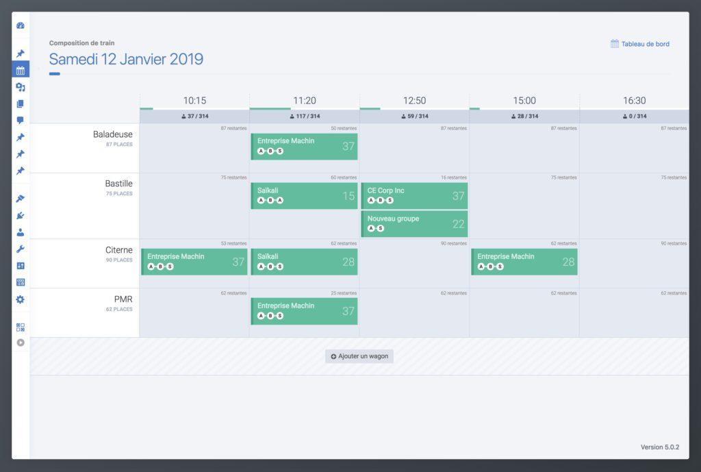 Interface de l'outil de gestion de planning de trains développé avec ReactJS et WordPress
